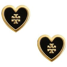 Tory Burch Black Lacquered Heart Logo Earrings