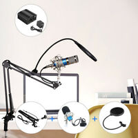 BM-800 Broadcasting Studio Condenser Microphone Kit 48V USB Phantom Power Supply