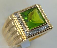 PERIDOT simulated men's 9.1 carat ring cz 18K yellow gold overlay size 12