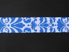 "damask blue grosgrain ribbon 7/8"" per 1 mtr hair scrapbooking card making"