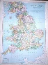 1901 LARGE VICTORIAN COUNTES MAP OF ENGLAND & WALES & SOUTHERN SCOTLAND