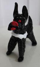 Vintage Murano Art Glass Scotty Dog Scottish Terrier Red Bow Black White & Red