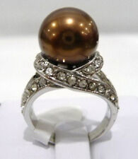 Chocolate Brown Shell Pearl 18KWGP Cubic Zirconia Ring Size: 6.7.8.9