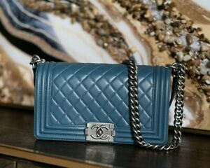 VERIFIED Authentic CHANEL Blue Quilted Leather Medium Boy Flap Bag