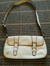 Mango small white Leather Satchel/Messenger Bag