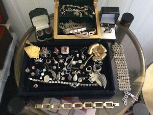 Bulk lot vintage deceased estate jewellery all 925 wear ,scrap,395 grams