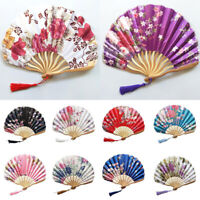 Vintage Bamboo Folding Fan Chinese Hand Fans Wedding Flower Floral Performance
