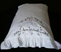 PillowCase (1) White Cotton Sateen Embroidered King Standard Southern Belle New