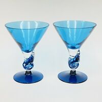Set Of 2 MURANO Sky Blue Cobalt Hand Blown Swirl Ocean Wave Martini Glass Italy