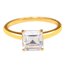Gold 2.10 Carat Solitaire Engagement Ring Amazing Square Shape 14Kt Solid Yellow