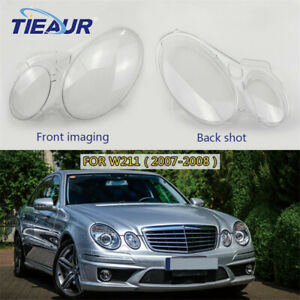 Pair Headlight Lens Cover Headlamp Shell Fit For Mercedes-Benz W211 2002-2008