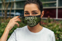 Drugs Not Hugs Dont Touch Me Weed Funny Face Mask Printed in US High Quality