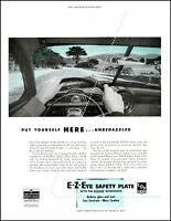 1952 Windshield driver's view E-Z-Eye safety plate vintage photo Print Ad adL34
