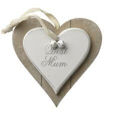 Best Mum Wooden Heart Hanger – Plaque – Shabby Chic White Wood Mother Mummy