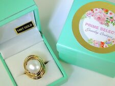 MABE Pearl RING 14K Solid Yellow Gold Vintage Natural S 8 Estate Women's Jewelry