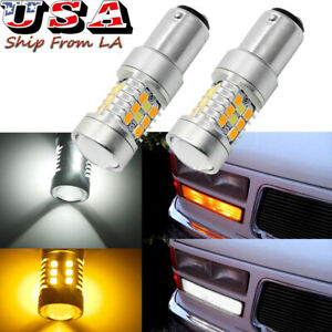 2357 Dual Color LED Turn Signal Parking Light Bulb For Chevy C/K1500 Silverado