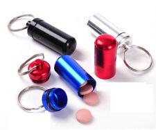 4 x Medikamentenbox Schlüsselanhänger Schwarz/Silber/Blau/Rot