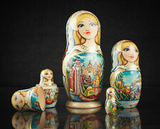 "Unique nesting dolls blue and gold ""Morozko"", Russian Christmas matryoshka"