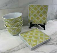 Crate & Barrel~ Lot of 7~ 4 Flat Appetizer Plates & 3 Bowls~ Yellow & White~ EUC