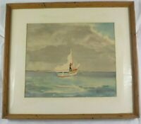 Original Impressionist Watercolor Painting Raising the Main Sail by H Van Sant