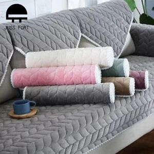 Sofa Protector Cover for Living Room Plain Solid Stretch Sofa Cushion Mat Couch