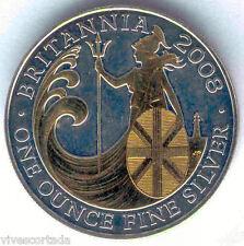 Gran Bretaña 2 Libras 2008 @ 1 onza plata fina @ RELIEVE en ORO @@