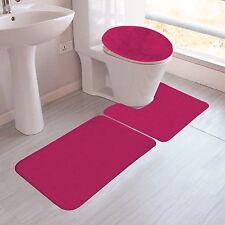 Hot Pink Colors Banded Bathroom Set Bath Mat Countour Rug Lid Cover Plain 3Pc #6
