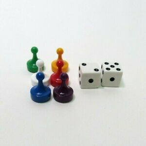 2013 Clue Classic Mystery Game Replacement Parts- 6 Tokens & 2 Dice
