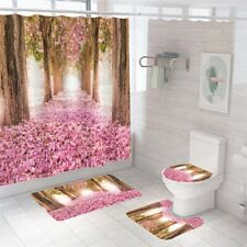 Floral Bathroom Rug Set Shower Curtain Thick Non-Slip Toilet Lid Cover Bath Mat