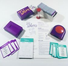 2000 Purple TABOO game parts: Buzzer/Timer/Cards/Score Pad/Card Holder/Instr. FS