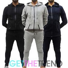 Mens Hooded Sweatshirt Joggers Skinny Slim Fit GA Designer Branded Zip Up Pants