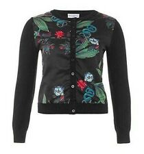 Wolf & Whistle Freida Snake Floral Print Button Cropped Cardigan Sweater XS M L