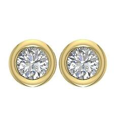VVS1 D Screw Backs 1.00Ct Bezel Real Diamond 14K Gold Solitaire Studs Earrings