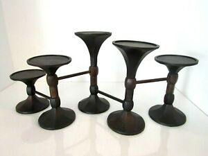 Pottery Barn Wrought Iron 5 Pillar Adjustable Candle Holder Stand Table Mantle