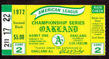 1972 ALCS GAME 2 TICKET STUB  OAKLAND A'S vs DETROIT TIGERS
