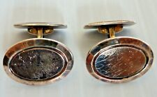 "SWEDISH-MODERN PAIR OF 835 SILVER GOLD WASHED OVAL CUFFLINKS, ""FA"" MAKER"