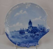 RXC Bavaria Delft Germany Savoy Plate Flow Blue Canal Scene Boat Reticulated