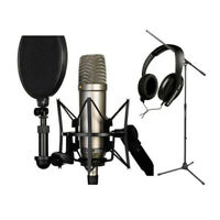 Studio Microphone Mic Shock Mount Stand Holder+Wind Screen Shied Pop Filter Mask