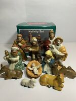 """Vintage 11 piece Porcelain Nativity Set with Hand Painted figurines up to 6"""" ~C3"""