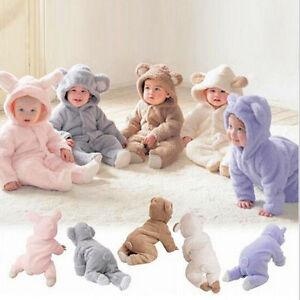 Newborn Baby Toddler Cute Fleece Teddy Bear Ear Hooded Romper Jumpsuit One-Piece
