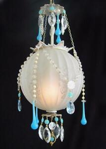 "Vintage 9 ""x 18"" Ribbed Glass Globe, Blue Crystal & Bead Pendant Chandelier"