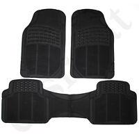 Universal Car Van Mats Heavy Duty Rubber Floor Mat Set Black Non Slip 3pc