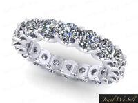 3.60Ct Round Diamond U-Prong Eternity Anniversary Band Ring 14k White Gold F VS2