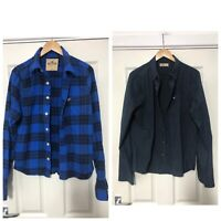 x2 Hollister Long Sleeve Shirts Mens Size Large L Navy Blue Checked C687