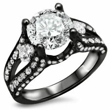 3.34 Ct Round Diamond Ring Black Silver Engagement New Ring