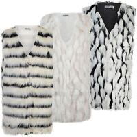 Ladies Faux Fur Sleeveless Gilet Women Waistcoat Jacket Outerwear Coat Size 8-14