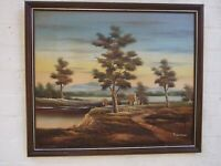 Vintage Oil Painting ''Lake Countryside  w Cottage '' on Canvas Signed Framed