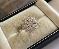 Lovely Ladies Hallmarked Vintage 9CT Gold White Stone Large Cluster Ring - M 1/2