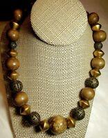 "VTG Wooden Necklace SALE Filigree Bead Metal Chunky Boho Hippie Asian-24"""