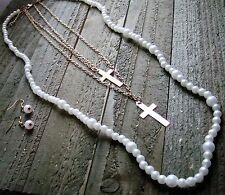 Statement Necklace Earrings Set Faux Pearl Dangle Cross Long Multi Line Jewelry